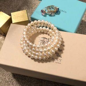 Five row pearl coil bracelet